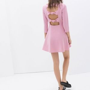NWT! ZARA PINK KNOTTED BOW BACK DRESS. SIZE S